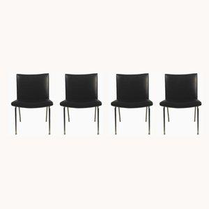 Schwarze Airport Stühle von Hans J. Wegner, 1960er, 4er Set
