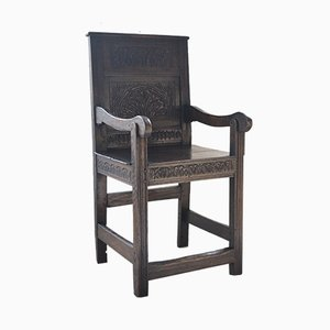 Antiker Wainscot Kinderarmlehnstuhl aus Eiche