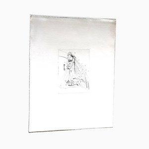 Gravure à l'Eau-Forte sur Soie Nu avec Fleur par Salvador Dali, 1968
