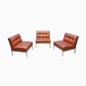 Modernist Leather Lounge Chairs by Johannes Spalt for Wittmann, 1960s, Set of 3