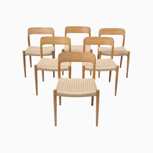 Esszimmerstühle aus Eichenholz & Papierkordel von Niels Otto Møller für J.L. Møllers, 1950er, 6er Set