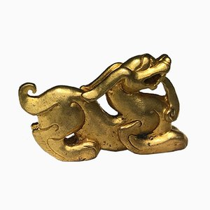 Antique Gilt Cast Bronze Mythical Dragon Paperweight