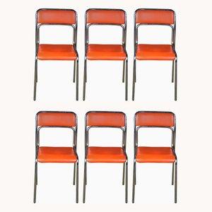 Sedie da pranzo vintage in acciaio tubolare arancione, set di 6