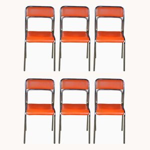 Vintage Orange Tubular Steel Dining Chairs, Set of 6