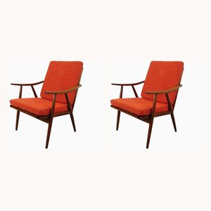 Mid-Century Wooden Lounge Chairs, 1960s, Set of 2
