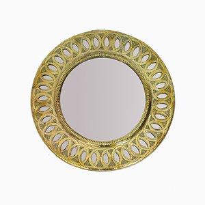Round Mid-Century Brass Mirror