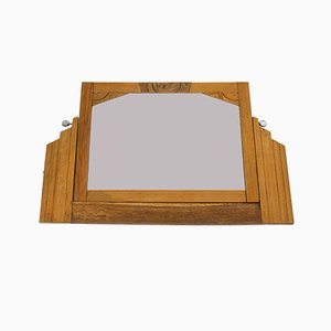 Specchio Art Deco in legno intagliato, anni '30