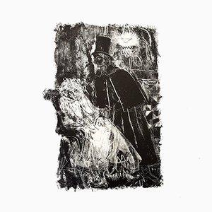 Cubist Man Etching by Jacques Villon, 1951