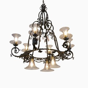 Large Vintage Iron Ceiling Lamp, 1950s