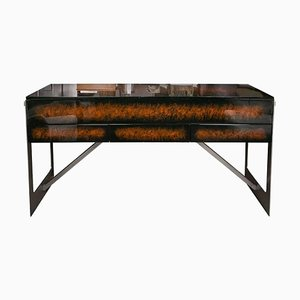 Vintage Faux Tortoiseshell, Lacquered Wood & Brass Dressing Table from Maison Charles, 1970s