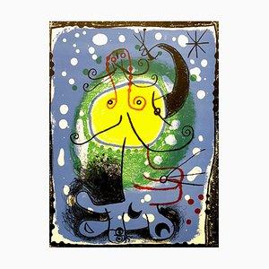 Litografía en azul de color de Joan Miro, 1957