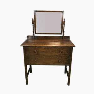 Vintage English Oak Dressing Table