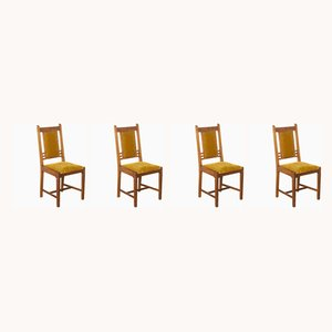 Vintage Amsterdam School Dining Chairs, 1920s, Set of 4