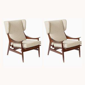 Italienische Mid-Century Sessel mit Bezug aus Baumwolle von Framar, 1950er, 2er Set