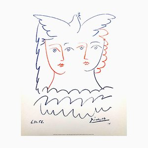 Woman and Dove Lithograph by Pablo Picasso, 1956