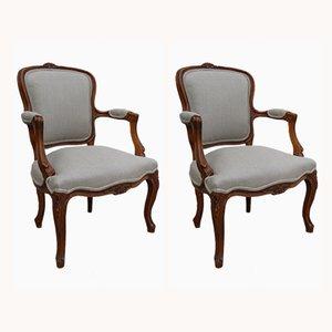 Antike französische Sessel mit Bezug aus Leinen, 2er Set