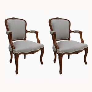 Antique French Linen Armchairs, Set of 2