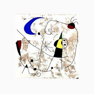 Moon and Sun Pochoir Print by Joan Miro, 1957