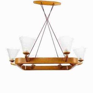 Lámpara de araña Mid-Century de madera
