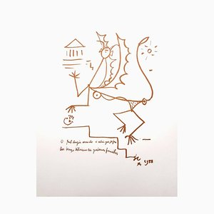 Surrealist Creature Lithograph by Jean Cocteau, 1958