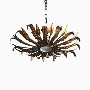 Mid-Century Spanish Gilt Metal Ceiling Lamp, 1950s