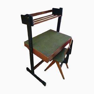 Schreibtisch & Stuhl aus Holz & Metall von Fratelli Reguitti, 1960er