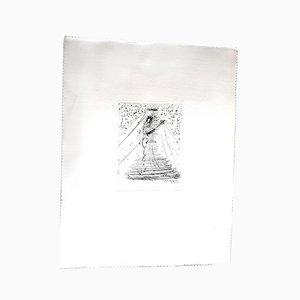 Acquaforte di violino su seta di Salvador Dali, 1968