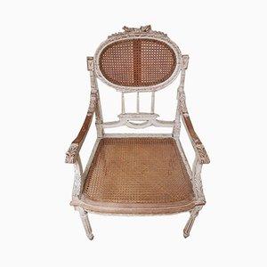 Antiker Stuhl aus Holz & Schilfrohr