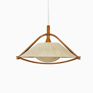 Large Vintage Raffia Pendant Lamp from Temde, 1960s