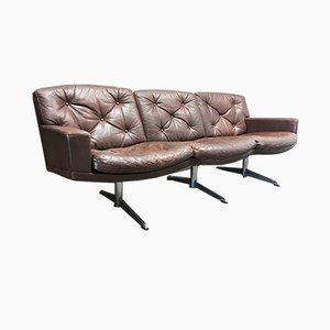 Vintage Leather and Chrome 3-Seater Sofa, 1950s