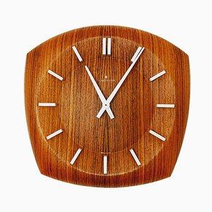 Reloj de pared vintage de teca de Junghans, años 60