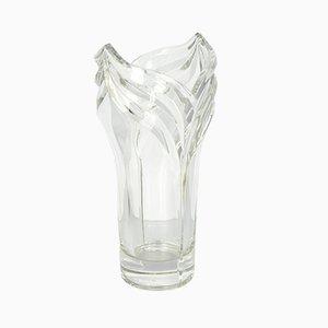 Jarrón francés vintage grande de cristal de Baccarat, años 70