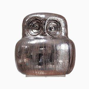 Eule aus Keramik mit Glausur in metallischem Silber von Aldo Londi für Bitossi, 1960er