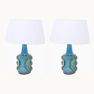 Lámparas de mesa modelo 1203 vintage de gres azul de Søholm, años 60. Juego de 2