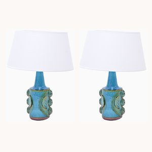 Vintage Blue Stoneware Model 1203 Table Lamps from Søholm, 1960s, Set of 2