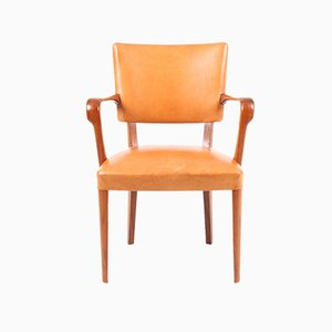 Mid-Century Danish Walnut & Patinated Leather Armchair, 1950s