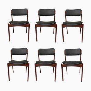 Esszimmerstühle mit Gestell asu Teak von Erik Buch für Oddense Maskinsnedkeri / OD Møbler, 1960er, 6er Set