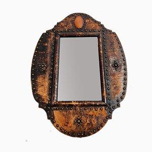 Antiker Spiegel mit Rahmen aus Leder