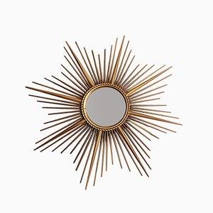 Espejo sol vintage sunburst de metal dorado de Chaty Vallauris, años 60