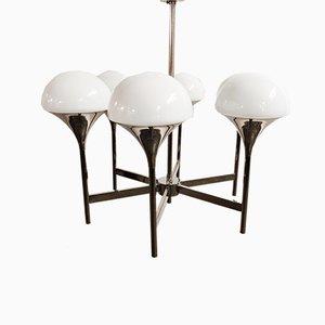 Lámpara de araña vintage de vidrio opalino de Goffredo Reggiani, años 70