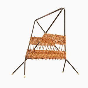 Mid-Century French Wicker & Steel Magazine Rack, 1950s