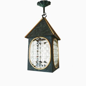 Vintage French Steel & Glass Lantern Pendant Lamp, 1950s