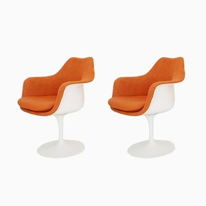 Vintage Tweed Tulip Chairs by Eero Saarinen for Knoll International, 1970s, Set of 2