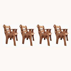 Konstruktivistische Vintage Armlehnstühle, 1960er, 4er Set