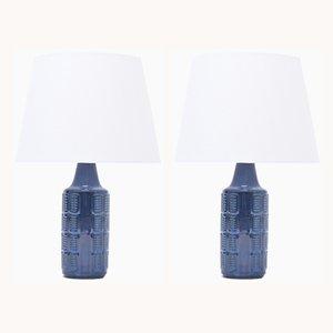 Lámparas de mesa vintage de gres azul de Einar Johansen para Søholm, años 60. Juego de 2