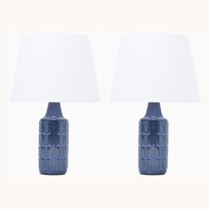 Vintage Blue Stoneware Table Lamps by Einar Johansen for Søholm, 1960s, Set of 2