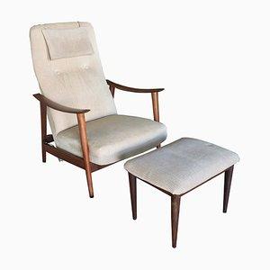 Norwegischer Sessel & Fußstütze von Arnt Lande für Stokke, 1950er