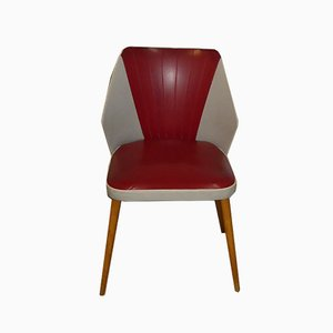 Mid-Century Red & Grey Cocktail Chair