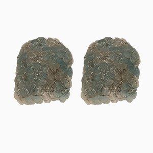 Apliques florales de cristal de Murano de Seguso, años 60. Juego de 2