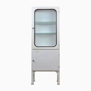 Mueble médico vintage de acero y vidrio, años 70